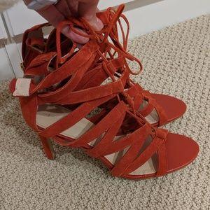 dark orange cage sandals